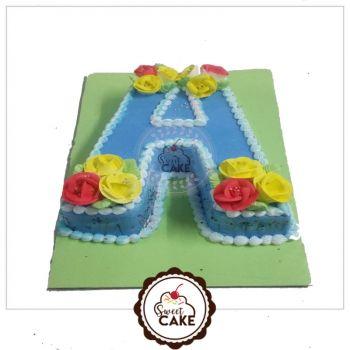 Vanilla Alphabet Shape Cake
