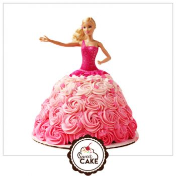 Barbie Doll Rose Design Cake