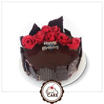 Chocolate Truffle With Red Flower cake