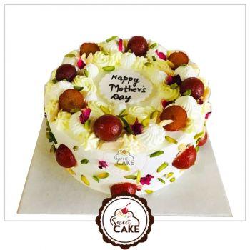 Eggless Gulab Jamun Pista Cake