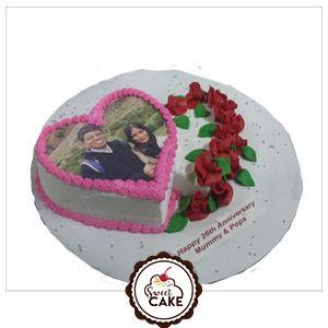 Double Heart Shpae Photo Cake